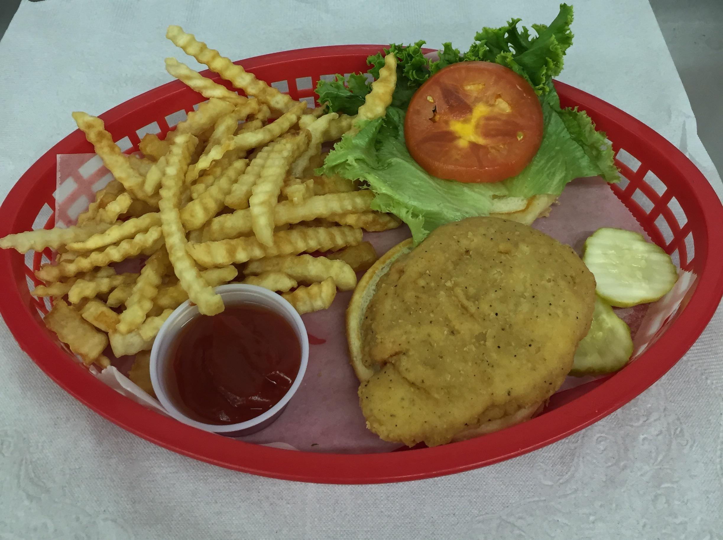 $6 M-F Lunch Special 11-3pm BURGER, CHICKEN FILLET BASKETS